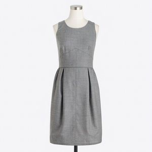 J. Crew | Grey Pleated Shift Dress in Wool Flannel